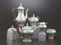 Silver Holloware, British:Holloware, AN ENGLISH FIVE-PIECE SILVER PLATE TEA AND COFFEE SERVICE.Ellis-Barker Silver Co., Birmingham, England, 20th Century.Marks... (Total: 6 Items)