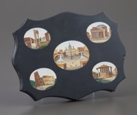 A ROMAN MICROMOSAIC PAPER WEIGHT Maker unknown, Rome, Italy, late 19th Century Unmarked 0-1/2 x 6-3/8 x 4-3/