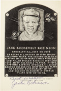 Autographs:Post Cards, 1960's Jackie Robinson Signed Black & White Plaque....