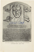 Autographs:Post Cards, 1950's Mel Ott Signed Hall of Fame Plaque. ...