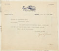 Autographs:Letters, 1910 Johnny Evers Signed Letter....