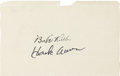 "Autographs:Others, 1920's ""Babe"" Ruth & 1980's Hank Aaron Signed Album Page...."