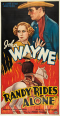 "Movie Posters:Western, Randy Rides Alone (Monogram, 1934). Three Sheet (41"" X 81"").. ..."