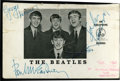 Music Memorabilia:Autographs and Signed Items, The Beatles Signed Promo Card....