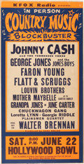 Music Memorabilia:Posters, Johnny Cash Hollywood Bowl Concert Poster (KFOX, 1963)....