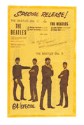 Music Memorabilia:Posters, The Beatles No. 1 EP Promo Flyer (1963)....
