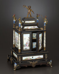 A VIENNESE ENAMEL ON COPPER, GILT BRONZE AND WOOD TABLE CABINET Maker unidentified, Vienna, Austria, circa 1875