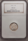 Bust Dimes: , 1835 10C MS64 NGC. NGC Census: (80/25). PCGS Population (55/14).Mintage: 1,410,000. Numismedia Wsl. Price for problem free...