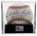 "Autographs:Baseballs, Enos Bradsher Slaughter ""HOF 85"" Single Signed Baseball, PSA Mint9. Elegant full name sweet spot sig from Enos Slaughter ha..."