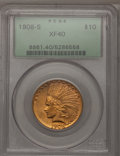 Indian Eagles: , 1908-S $10 XF40 PCGS. PCGS Population (35/493). NGC Census:(17/552). Mintage: 59,850. Numismedia Wsl. Price for problem fr...