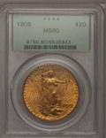 Saint-Gaudens Double Eagles: , 1909 $20 MS60 PCGS. PCGS Population (68/1533). NGC Census:(67/888). Mintage: 161,282. Numismedia Wsl. Price for problem fr...