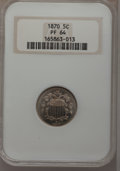 Proof Shield Nickels: , 1870 5C PR64 NGC. NGC Census: (115/79). PCGS Population (124/77).Mintage: 1,000. Numismedia Wsl. Price for problem free NG...