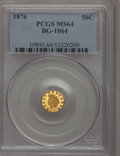 California Fractional Gold: , 1876 50C Indian Round 50 Cents, BG-1064, R.6, MS64 PCGS. PCGSPopulation (11/0). (#10893)...