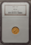Gold Dollars: , 1857 G$1 MS62 NGC. NGC Census: (253/123). PCGS Population(117/153). Mintage: 774,789. Numismedia Wsl. Price for problemfr...