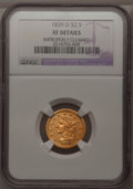 Classic Quarter Eagles, 1839-D $2 1/2 --Improperly Cleaned--NGC. XF Details....