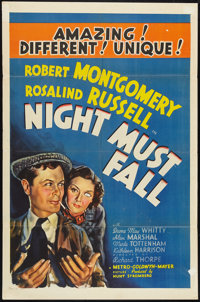 "Night Must Fall (MGM, 1937). One Sheet (27"" X 41"") Style D, Lobby Cards (3) (11"" X 14""), and Program..."