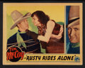 """Movie Posters:Western, Rusty Rides Alone (Columbia, 1933). Lobby Card (11"""" X 14""""). Western.. ..."""