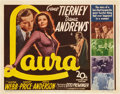 "Movie Posters:Film Noir, Laura (20th Century Fox, 1944). Title Lobby Card and Lobby Cards(3) (11"" X 14"").. ... (Total: 4 Items)"