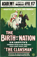 "Movie Posters:Drama, The Birth of a Nation (David W. Griffith Corp., 1915). Window Card(13.75"" X 21"").. ..."
