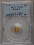 California Fractional Gold: , 1872/1 25C Indian Round 25 Cents, BG-869, Low R.4, MS63 PCGS. PCGSPopulation (38/53). NGC Census: (5/15). (#10730)...