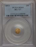 California Fractional Gold: , 1873 25C Liberty Octagonal 25 Cents, BG-727, High R.4, MS64 PCGS.PCGS Population (22/16). NGC Census: (2/4). (#10554)...