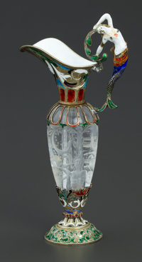A CASED FRENCH ROCK CRYSTAL, SILVER GILT AND ENAMEL EWER Unknown maker, France, circa 1850 Unmarked 5-5/8 x