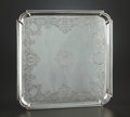 Silver Holloware, British:Holloware, A GEORGE II SILVER SALVER. Edward Cornock, London, England, 1728-1729. Marks: (lion passant), (leopard's head crowned), EC...