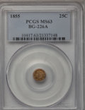 California Fractional Gold, 1855 25C Liberty Round 25 Cents, BG-226A, R.5, MS63 PCGS. PCGSPopulation (2/2). NGC Census: (1/1). (#10417)...