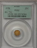 California Fractional Gold: , 1870 25C Liberty Octagonal 25 Cents, BG-762, Low R.4, MS62 PCGS.PCGS Population (37/17). NGC Census: (2/5). (#10589)...