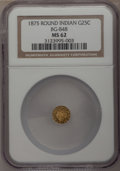 California Fractional Gold: , 1875 25C Indian Round 25 Cents, BG-848, Low R.7, MS62 NGC. NGCCensus: (1/0). PCGS Population (3/6). (#10709)...