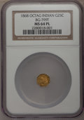 California Fractional Gold: , 1868 25C Indian Octagonal 25 Cents, BG-799T, High R.5, MS64Prooflike NGC. (#71...