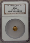 California Fractional Gold: , 1871 25C Liberty Octagonal 25 Cents, BG-765, R.3, MS64 NGC. NGCCensus: (2/2). PCGS Population (25/4). (#10592)...