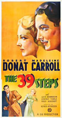 "The 39 Steps (Gaumont, 1935). Three Sheet (41"" X 81"")"