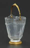 Decorative Arts, French:Other , A FRENCH ROCK CRYSTAL BUCKET WITH GOLD MOUNTS. Maker unknown,France, 18th Century. Unmarked. 6-1/2 x 3-3/4 x 3-1/4 inches (...
