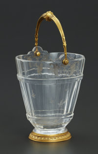 A FRENCH ROCK CRYSTAL BUCKET WITH GOLD MOUNTS Maker unknown, France, 18th Century Unmarked 6-1/2 x 3-3/4 x 3