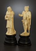 Decorative Arts, Continental:Other , A PAIR OF GERMAN CARVED IVORY FIGURES . Maker unknown, Germany,circa 1850. Unmarked. 11 inches (27.9 cm). 70.8 ounces (gros...(Total: 2 Items)