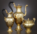 Silver Holloware, French:Holloware, A CASED LOUIS XVIII SILVER GILT AND EBONY THREE-PIECE COFFEE SET. Jean-Baptiste-Claude Odiot, Paris, France, circa 1820. Mar...