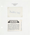 Golf Collectibles:Autographs, Circa 1960 Beatrix Hoyt Signed Blank Business Card....