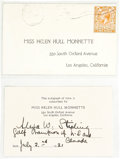 Golf Collectibles:Autographs, 1921 Alexa Stirling Signed Card....