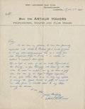 Golf Collectibles:Autographs, 1923 Arthur Havers Handwritten Signed Letter....