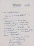 Golf Collectibles:Autographs, 1989 Herman Keiser Handwritten Signed Letter....