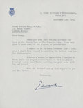 Golf Collectibles:Autographs, 1954 Edward, Prince of Wales Signed Letter to Henry Cotton....