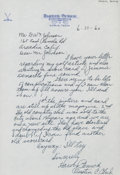 Golf Collectibles:Autographs, 1960 Harvey Penick Handwritten Signed Letter....