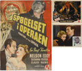 Movie/TV Memorabilia:Memorabilia, Claude Rains' Poster for Phantom of the Opera, and His LobbyCards for The Man Who Reclaimed His Head ... (Total: 3Items)