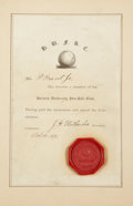 Football Collectibles:Others, 1875 Harvard University Football Club Membership Certificate....