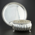 Silver Holloware, British:Holloware, AN ENGLISH SILVER PLATE PUNCH BOWL AND TRAY. William & GeorgeSissons, Sheffield, England, circa 1890. Marks: (bell), HAND...(Total: 2 Items)