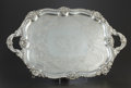 Silver Holloware, British:Holloware, AN ENGLISH SILVER PLATE FOOTED TRAY. Maker unidentified, probablySheffield, England, 20th century. Marks: (erased dog) GA...