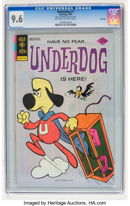 Underdog #1 File Copy (Gold Key, 1975) CGC NM+ 9.6 Off-white to white pages....