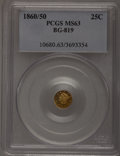 California Fractional Gold: , 1860/50 25C Liberty Round 25 Cents, BG-819, R.4, MS63 PCGS. PCGSPopulation (14/8). NGC Census: (1/0). (#10680)...