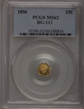 California Fractional Gold: , 1856 25C Liberty Octagonal 25 Cents, BG-111, R.3, MS62 PCGS. PCGSPopulation (81/124). NGC Census: (17/28). (#10380)...
